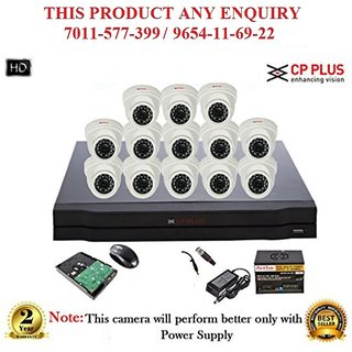 Cp Plus 1.3 MP HD 16CH DVR + Cp plus HD DOME IR CCTV Camera 13Pcs + 1TB HDD + POWER SUPLLAY + BNC + DC ,