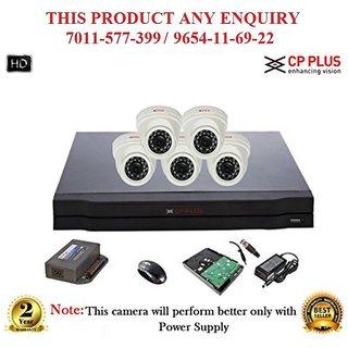 Cp Plus 1.3 MP 8CH HD DVR + Cp plus HD  DOME IR CCTV Camera 5Pcs + 1TB HDD + POWER SUPLAY + BNC + DC PIN