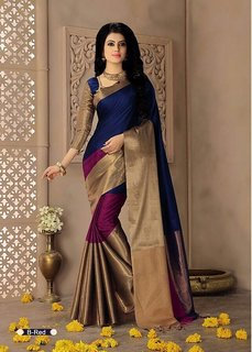 Indian Beauty Art Cotton Silk Partywear With Blouse Saree