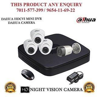 Dahua 2 MP HDCVI  4CH DVR + Dahua HDCVI  Bullet Camera 1Pcs and Dome Camera 3Pcs Comb