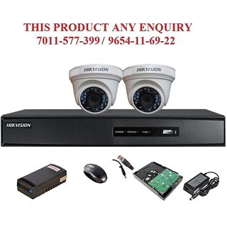 Hikvision 2 MP 4CH DVR 1Pcs, Dome Camera 2Pcs, Mouse, 1TB HDD , 4 Bnc , 2 Dc , Power Supply , CCTV COMBO
