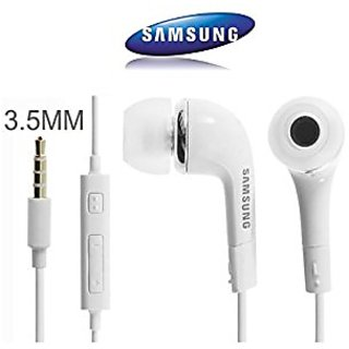 Samsung Galaxy J7 Prime Handfree WIth Mic  Handsfree Headset With Deep Bass And Music Equalizer (White/Black) Pro