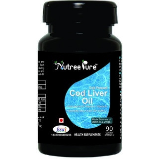 Nutree Pure Cod Liver Oil 300mg ( Rich Source of Omega3, Vitamin-A  D ) - 90 Soft gel capsules