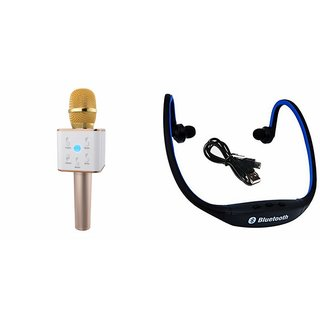 Zemini Q7 Microphone and BS19C Bluetooth Headset for Vivo V5s(Q7 Mic and Karoke with bluetooth speaker | BS19C Bluetooth Headset With Mic)