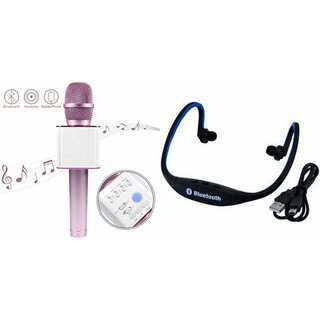 Zemini Q7 Microphone and BS19C Bluetooth Headset for Vivo Y21L(Q7 Mic and Karoke with bluetooth speaker   BS19C Bluetooth Headset With Mic)
