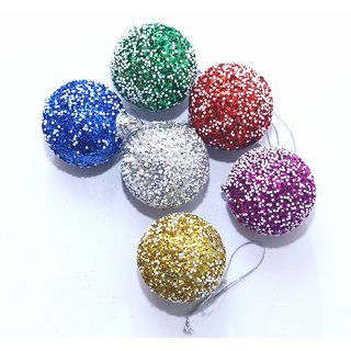 Buy Christmas decoration hanging Multi color thermocol balls -small size set of 6 pieces Online ...