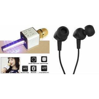 Zemini Q7 Microphone and C 100 Earphone Headset for VIVO y15s(Q7 Mic and Karoke with bluetooth speaker | C 100 Earphone Headset )