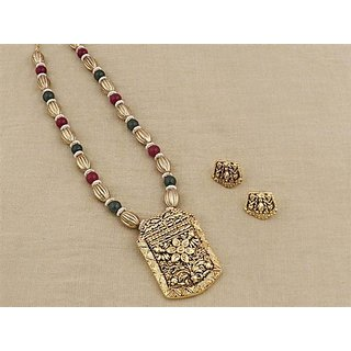 Firstloot Temple Necklace Set In Maroon, Green And Gold Colour - PES21