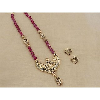 Firstloot Temple Necklace Set In Maroon And Gold Colour - PES24