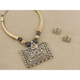 Firstloot Temple Necklace Set In Black And Gold Colour - PES34