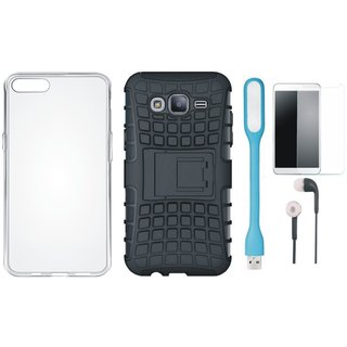 Samsung J7 Max Defender Tough Hybrid Shockproof Cover with Silicon Back Cover, Tempered Glass, Earphones and USB LED Light
