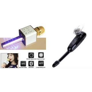 Zemini Q7 Microphone and HM1000 Bluetooth Headset for HTC ONE M8(Q7 Mic and Karoke with bluetooth speaker | HM1000 Bluetooth Headset With Mic)
