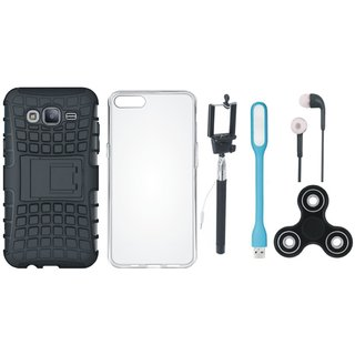 Samsung J7 Max Defender Tough Armour Shockproof Cover with Spinner, Silicon Back Cover, Selfie Stick, Earphones and USB LED Light