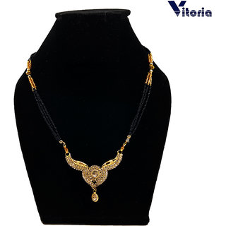 Vitoria Non Plated Black  Gold Brass  Copper Only Mangalsutra for Women