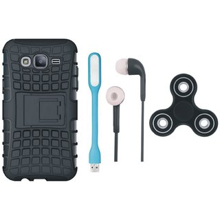 Samsung J7 Max Defender Back Cover with Kick Stand with Spinner, Earphones and USB LED Light