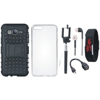 Samsung J7 Max Shockproof Tough Defender Cover with Silicon Back Cover, Selfie Stick, Digtal Watch, Earphones and OTG Cable