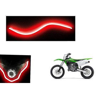 Autonity  Flexible 30cm Bike Headlight Neon LED DRL Tube RED For Kawasaki KX100F
