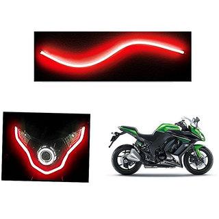 Autonity  Flexible 30cm Bike Headlight Neon LED DRL Tube RED For Kawasaki Ninja 1000