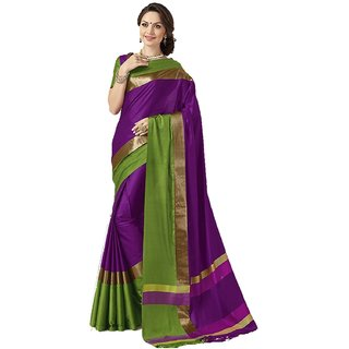 Meia Purple and Green Polycotton Badge Saree With Blouse