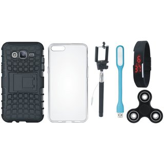 Samsung J7 Max Shockproof Tough Defender Cover with Spinner, Silicon Back Cover, Selfie Stick, Digtal Watch and USB LED Light