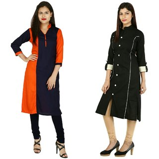 Boutique Ever Orange blue color block kurti and Black kurti combo set
