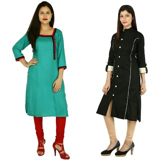 Boutique Ever Turquise kurti and Black kurti combo set