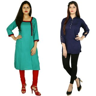 Boutique Ever Turquise kurti and Blue Top combo collection