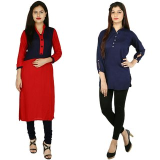 Boutique Ever Red,Blue kurti and Blue Top combo collection