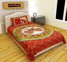 Choco Creation Strawberry Rajwada Single Bedsheet With 1 Pillow Cover