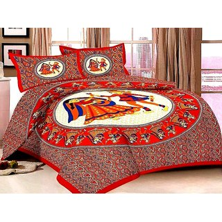 Choco Jaipuri Rajwada Double Bedsheet With 2 Pillow Covers