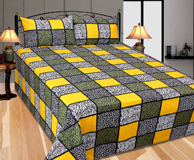 Choco Creation Plii bajri Printed Double Bed Sheet With 2 Pillow Cover (FZRBS025)