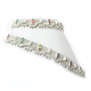 Rabbi heena Indian silver plated anklet payal