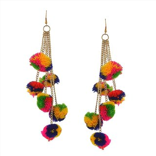 Fabric Tassel Pompom Earring With Golden Chain by Sparkling Jewellery
