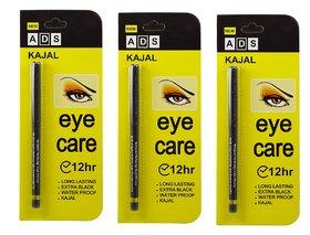 ADS Eye Care Long Lasting Waterproof Extra Black Kajal 12Hr - 3 pcs
