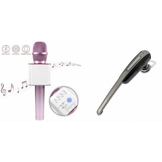 Mirza Q7 Microphone and HM1000 Bluetooth Headset for MICROMAX CANVAS SELFIE 3(Q7 Mic and Karoke with bluetooth speaker | HM1000 Bluetooth Headset With Mic)
