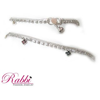 Rabbi Silver Plated Anklet Payal With Flora An21Swsf