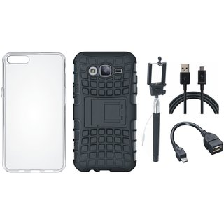 Oppo F3 Defender Tough Armour Shockproof Cover with Silicon Back Cover, Selfie Stick, OTG Cable and USB Cable