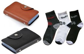 Unique Combo Of 3 Pair socks + 2PCS  Black OR   Brown  ATM card holder (12 slots)