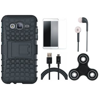 Oppo F3 Defender Tough Armour Shockproof Cover with Spinner, Earphones, Tempered Glass and USB Cable
