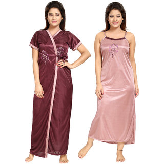 Be You Satin Plum-Mauve Color Floral Embroidered Women 2 Pcs Nighty Set