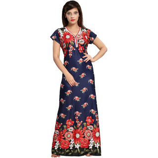 Be You Serena Satin Navy Blue Floral Print Women Nightgown
