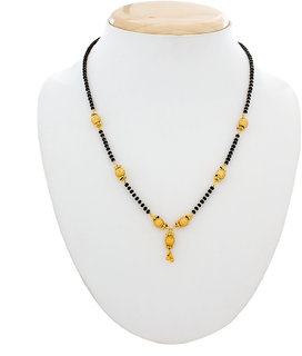Luxor Gold Plated Black Golden Alloy Mangalsutra For Women