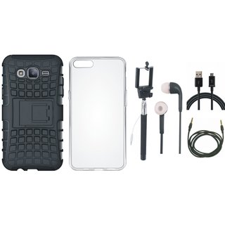 Oppo F3 Shockproof Tough Armour Defender Case with Silicon Back Cover, Selfie Stick, Earphones, USB Cable and AUX Cable