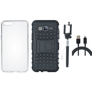 Oppo F3 Shockproof Tough Armour Defender Case with Silicon Back Cover, Selfie Stick and USB Cable