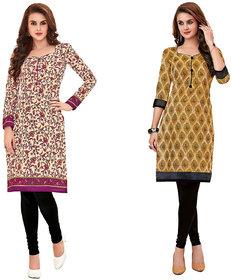 HRINKAR Yellow and Pink Cotton Readymade women kurti formal - HRMKRCMB0172-L