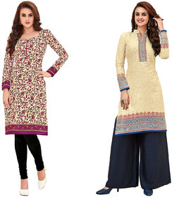 HRINKAR Yellow and Pink Cotton Readymade kurti cotton round neck - HRMKRCMB0173-L