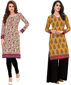 HRINKAR Yellow and Pink Cotton Readymade kurti for women - HRMKRCMB0179-L