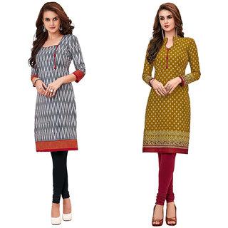 HRINKAR Grey and Red Cotton Readymade kurti for women - HRMKRCMB0023-L