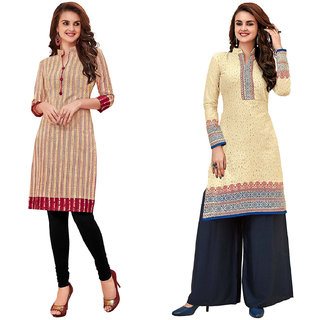 HRINKAR Multicolor and  Cotton Readymade long tops for women kurti - HRMKRCMB0112-L