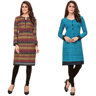 HRINKAR Multicolor and  Cotton Readymade long tops for women kurti - HRMKRCMB0073-L